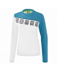 ERIMA-T-SHIRT-5-C-WHITE/BLUE-LONGSLEEVE-LADY-1